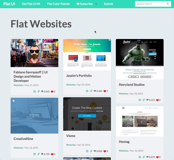 TOP 10 CSS Awards Website flatui