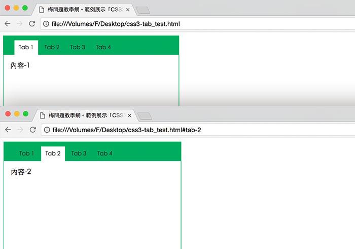「CSS3:target選擇器」免程式!純CSS就可實現Tab頁籤式的互動切換