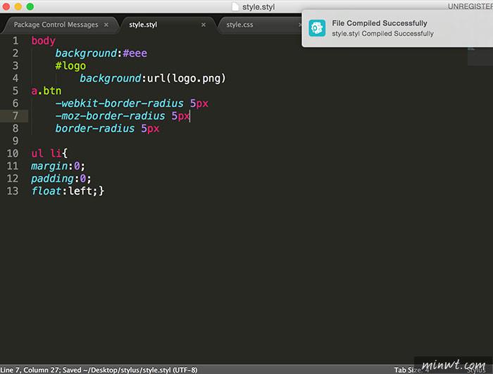梅問題-Sublime Text也可寫Stylus