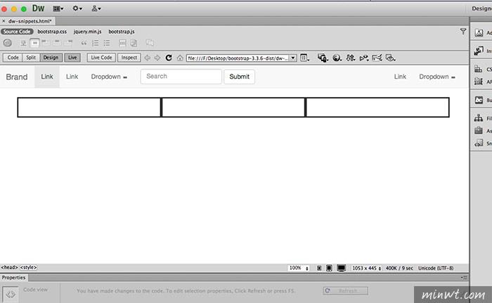 梅問題-Dreamweaver CS6以上版本全面支援Bootstrap