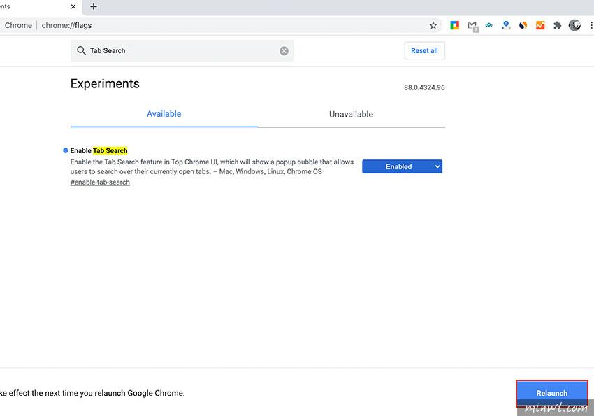 梅問題-Chrome88 版本可開啟 Tab Search 頁籤搜尋功能,讓你可以快速的搜尋已開啟頁籤