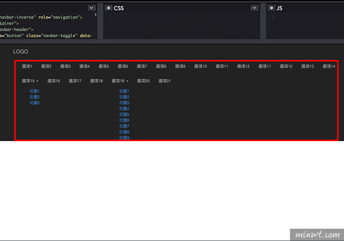 梅問題-[教學]Bootstrap Navbar導覽列選單太長時,可左右滑動切換選單(支援多層選單)