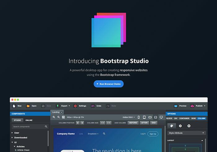 Bootstrap Studio 全視覺化Bootatrap編輯器,並支援手動修改HTML、CSS、JS檔