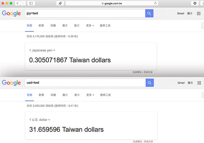 Google搜尋引擎內建「各國匯率」幣值互換超方便
