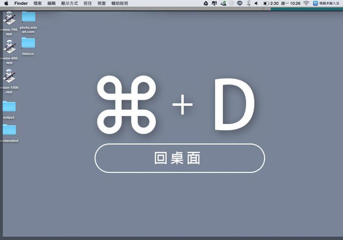 梅問題-MAC教學-將Winodws回桌面的快速鍵移植到MAC中,按Command+D鍵,就能快速切回桌面