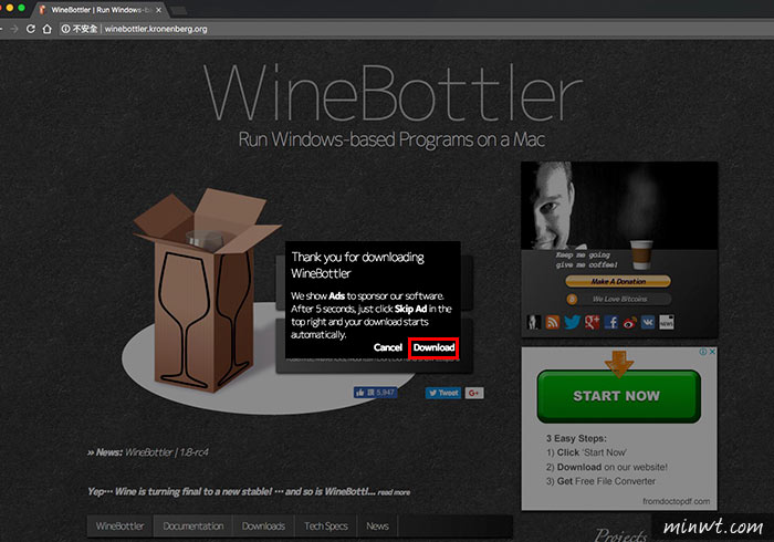how to use winebottler for exe