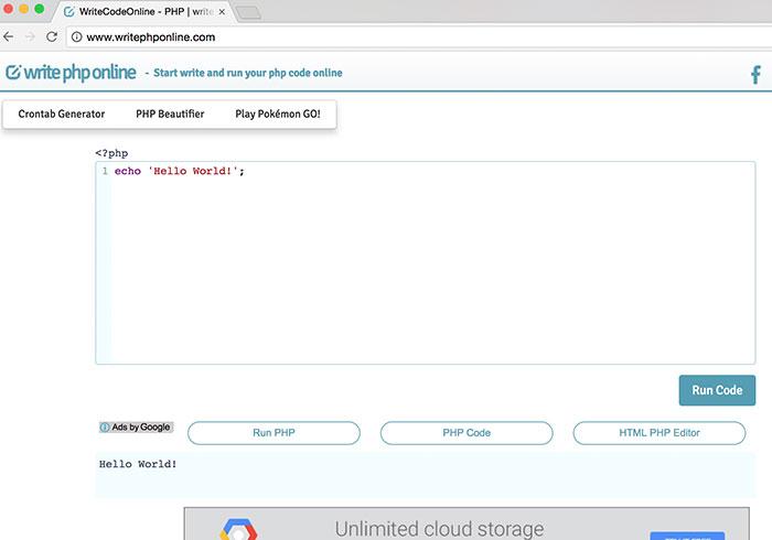 WriteCodeOnline PHP免架主機,打開網頁線上就可編寫PHP程式