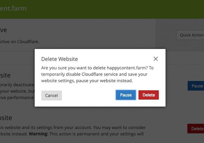 刪除 Cloudflare 域名DNS的代管服務
