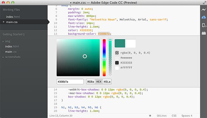 網設必備-《Adobe Edge Code CC》純文字網頁編輯器 (有提示詞與調色盤)