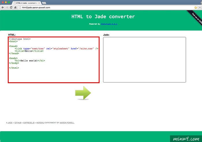 梅問題-HTML to Jade線上一鍵將HTML轉換JADE碼
