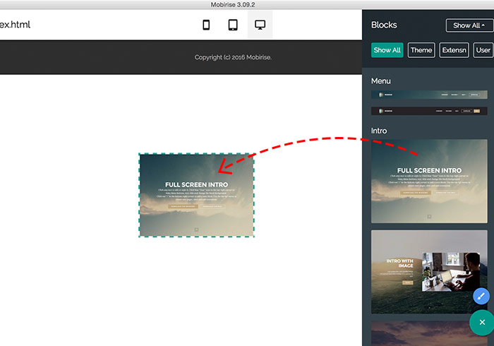 「Mobirise」不懂網頁語法,拖拉就可完成精美、酷炫的RWD網頁工具