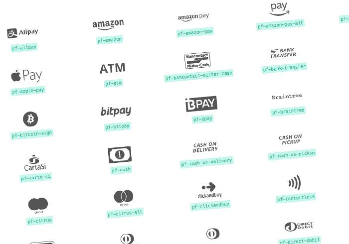 PaymentFont 收錄當前較夯的支付Pay圖示(IconFont),可直接引用至電商頁面中