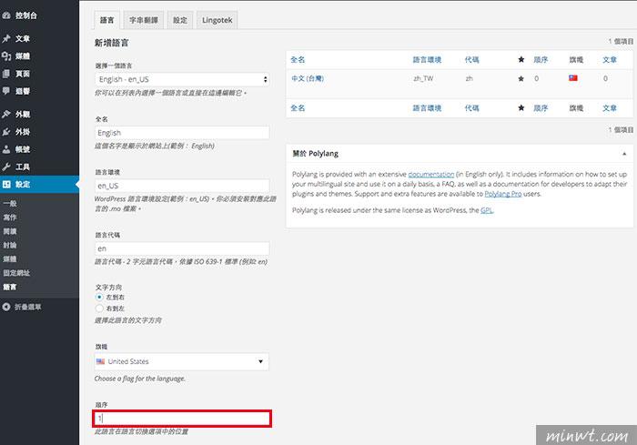 梅問題-WordPress外掛-Polylang將WordPress網站建立多國語言平台